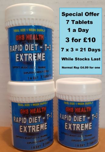 Rapid Diet - T-3 Extreme 7 tablets - 1 a day - Special 3 for £10
